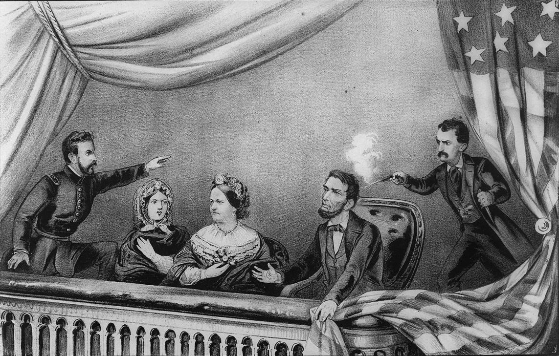 Zamach na Lincolna. Od lewej: Henry Rathbone, Clara Harris, Mary Todd Lincoln, Abraham Lincoln i John Wilkes Booth. Źródło: Wikimedia Commons, domena publiczna.