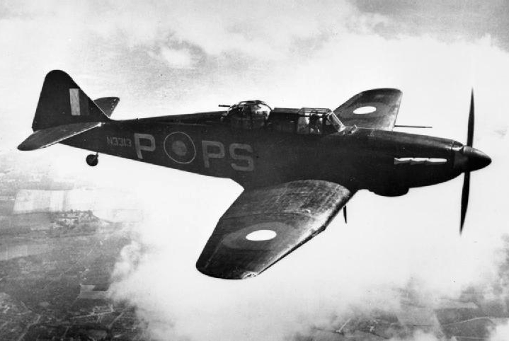 Boulton Paul Defiant Mk I w 1940 r. Źródło: Wikimedia Commons, domena publiczna.