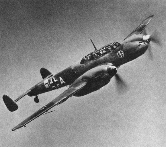 Messerschmitt Bf 110C. Źródło: Wikimedia Commons, domena publiczna.