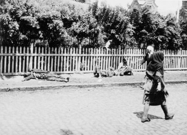 Zmarli z głodu na ulicy w Charkowie 1932. Źródło: Wikimedia Commons, domena publiczna.