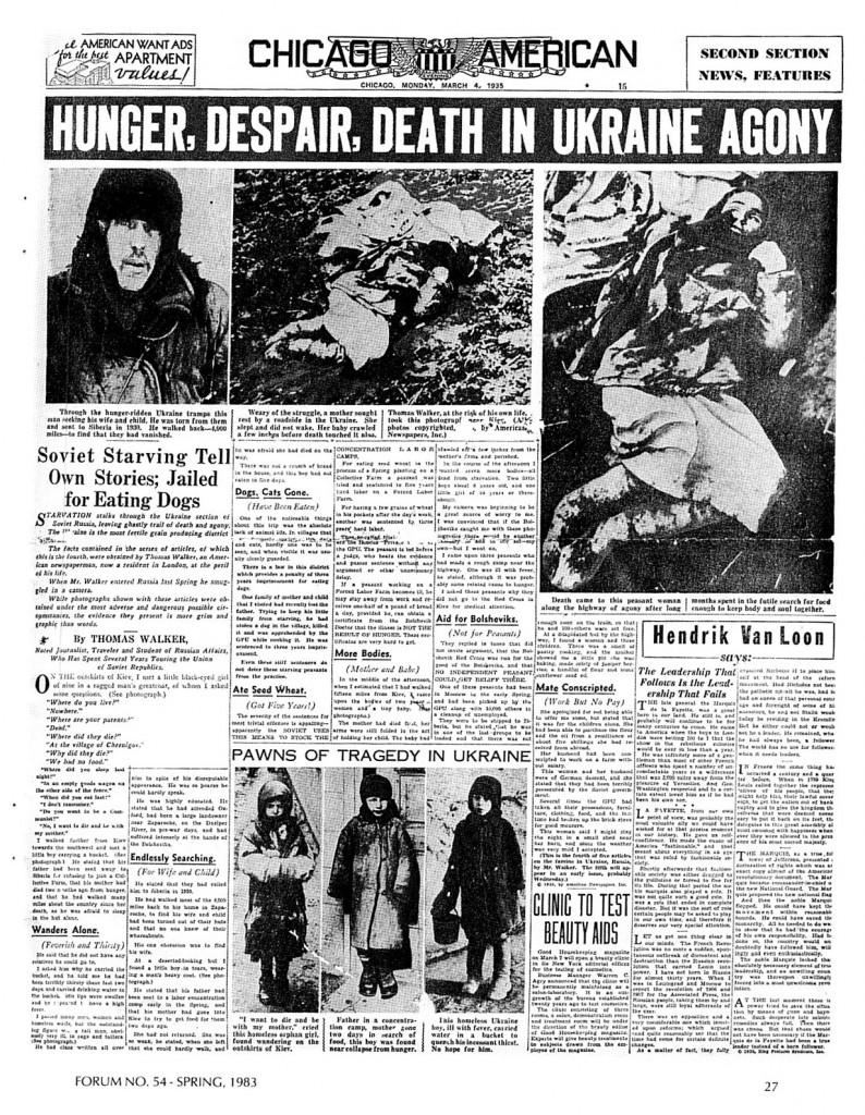 Chicagowski dziennik z lat trzydziestych opisujący klęskę głodu na Ukrainie. Źródło: Wikimedia Commons, domena publiczna.