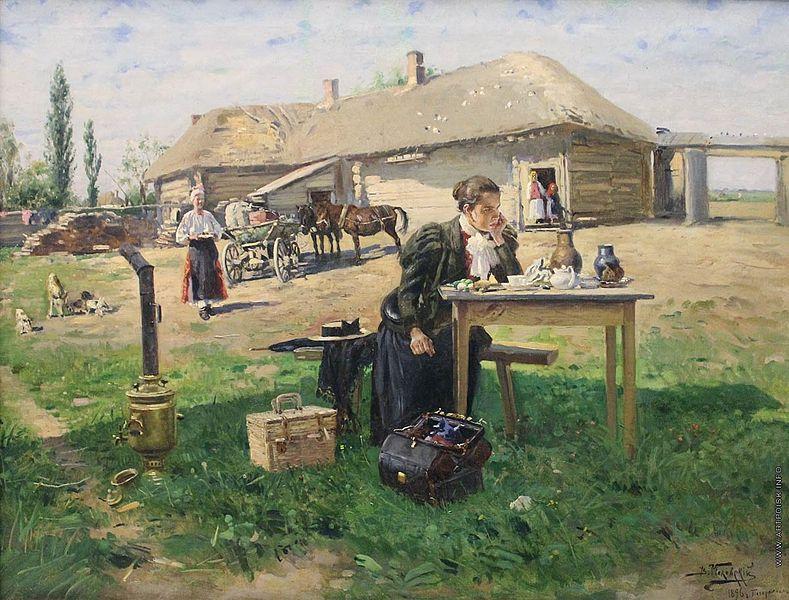 Nauczycielka odwiedzająca rosyjską wioskę. Władimir Makowski, koniec XIX wieku. Źródło: Wikimedia Commons, domena publiczna.
