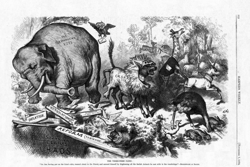 Grafika autorstwa Thomasa Nasta z 1874 roku. Źródło: Wikimedia Commons, domena publiczna.