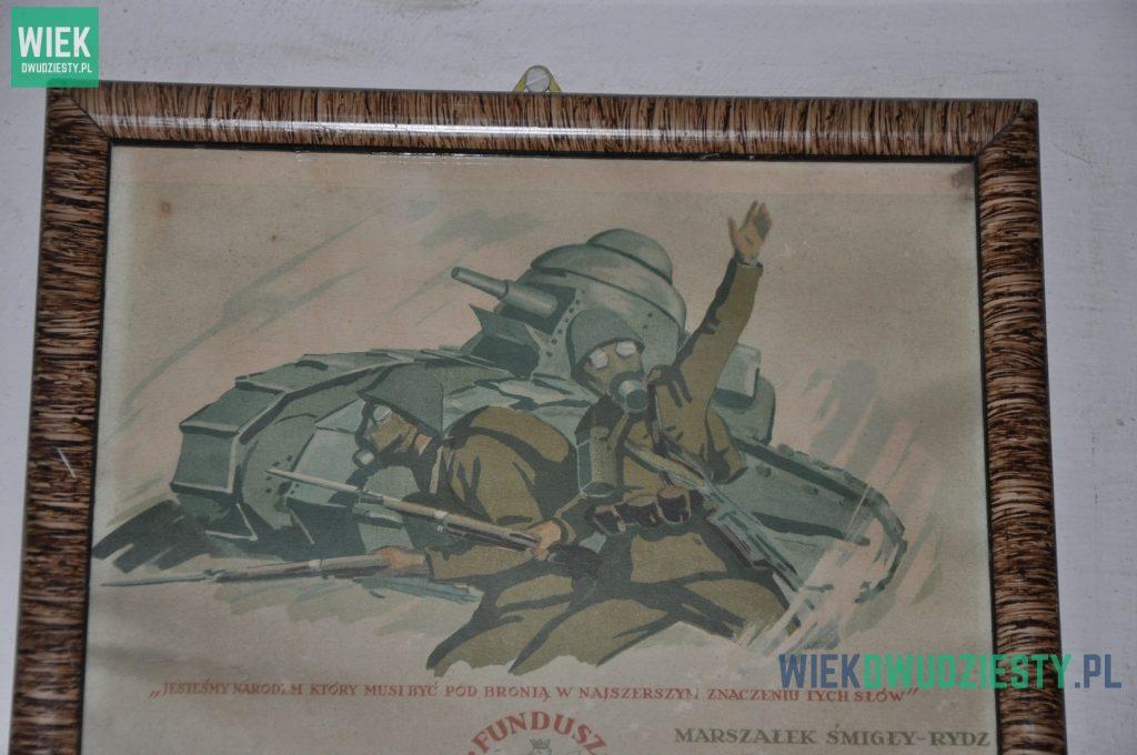 Polski plakat propagandowy z okresu międzywojennego. Na drugim planie widoczny czołg Renault FT. Fot. M. Szafran, odwaszegofotokorespondenta.blogspot.com