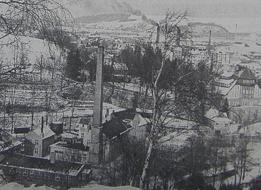 Willa Boberhaus (z prawej) i zakłady chemiczne Dr Wartha w Lwówku Śląskim, stan przed 1945 rokiem. Źródło: Wikimedia Commons, domena publiczna.