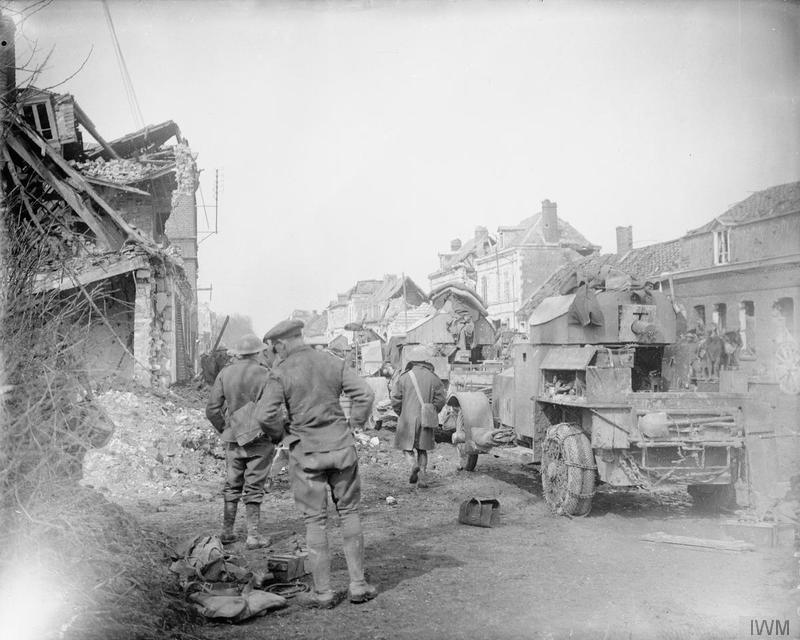 Brytyjskie samochody pancerne Rolls-Royce pod Arras, 1917.